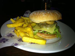 Beer and a burger at the Wahoo bar