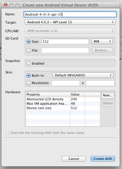 Choose AVD Settings